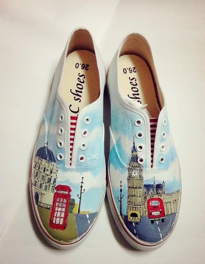 ロンドンの風景_手描きペイントスニーカー